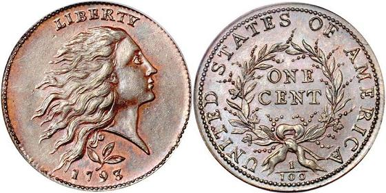 1793 Flowing Hair Wreath Penny