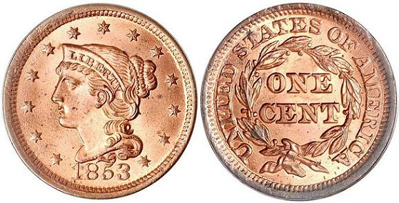 1853 Braided Hair Large Cent