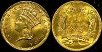 1858 Indian Princess Head Gold Dollar