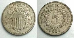 1866 Shield Nickel with Rays