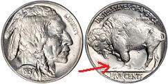 1937-D 3-legged Buffalo Nickel
