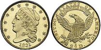 1831 Capped Head Left Reduced Size Quarter Eagle