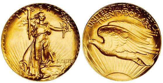 United States 1907 Saint Gaudens Gold Double Eagle Coin