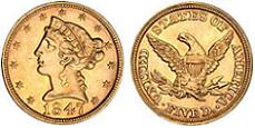 Liberty Head Half Eagle - No Motto