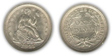 Liberty Seated Dime - With Stars