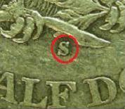 Mint Mark of the U.S. Mint at San Francisco, CA.