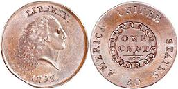 1793 Flowing Hair Large Cent - Chain Reverse