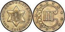 1851 Three Cent Silver Type 1