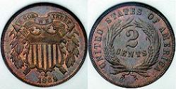 1869 Two Cent Coin