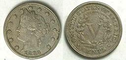 1883 Liberty Head Nickel with Cents