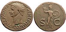 Ancient Roman Coin 41-54 AD Claudius Bronze As
