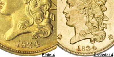 1834 Half Eagle Classic Head Plain 4 and Crosslet 4