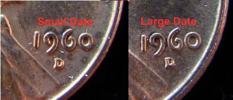 examples of large date and small date 1960D Lincoln Cent