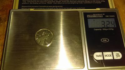 Weight of white 1971D penny