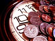 Clock and coins